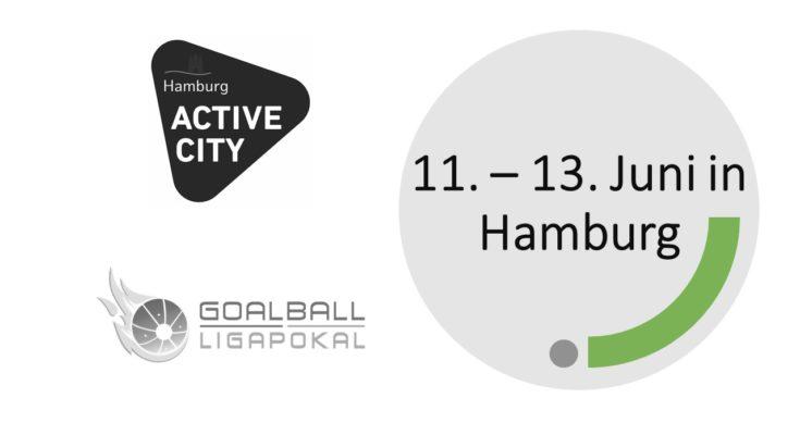 Zu sehen ist das Logo des Ligapokals und der Active Chity Hamburg, daneben steht das Datum 11. - 13. Juni in Hamburg
