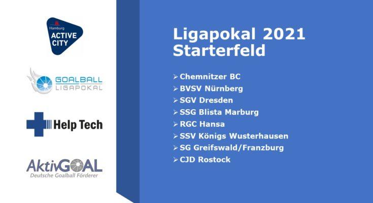 Ligapokal 2021 - Starterfeld, darunter sind die acht teilnehmenden Teams aufgelistet. Daneben sind die Logos von AktivGOAL, des Ligapokals, von Premiumpartner Help Tech und der Active City Hamburg zu sehen